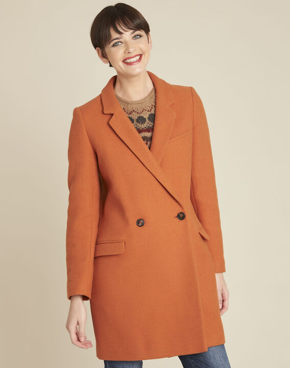 Eclat mahogany cross-over wool coat PhotoZ | 1-2-3