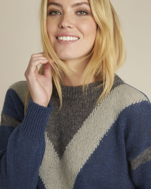Pull marine colorblock mohair Bise (2) - 1-2-3