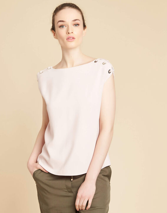 Germina pale pink blouse with eyelets and laces (3) - 1-2-3
