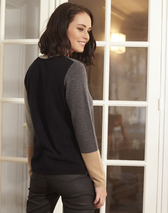 Block grey cashmere pullover (4) - 1-2-3