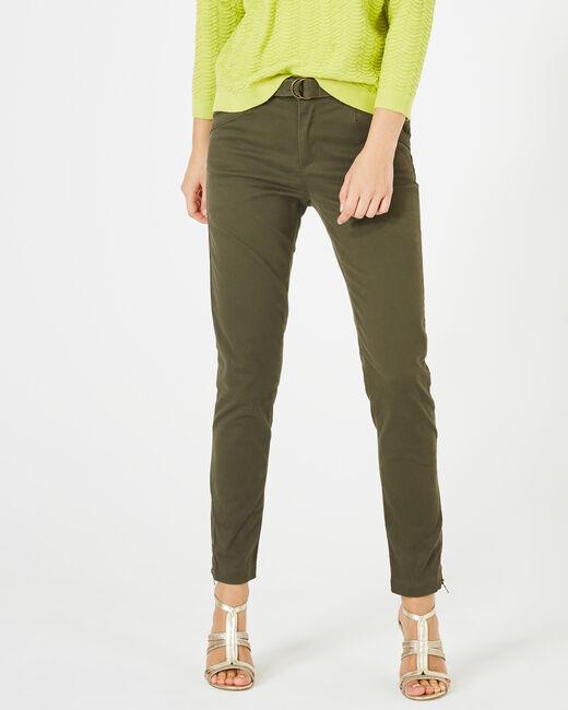 Kloe khaki 7/8 length trousers (2) - 1-2-3