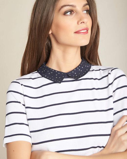 Tee-shirt marine rayé col claudine Egantine (1) - 1-2-3
