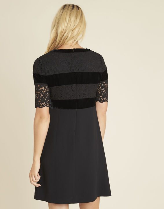 Noor black dual-material lace dress (4) - 1-2-3