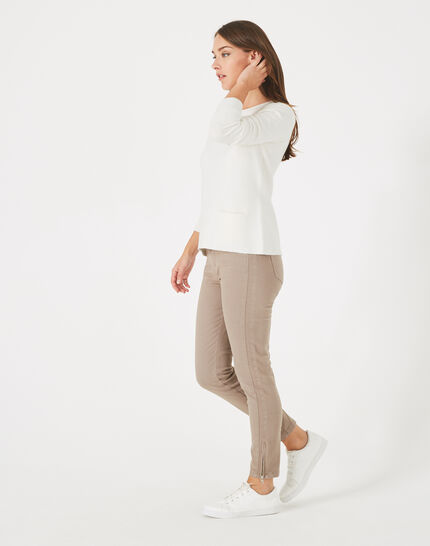 Pia taupe 7/8 length satin trousers (5) - 1-2-3