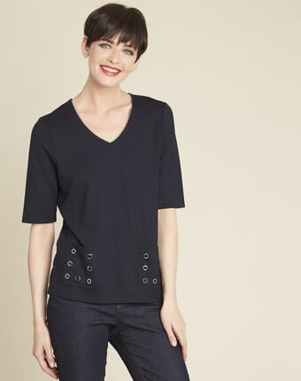 Goeland navy blue t-shirt with eyelet detailing on the pockets navy.