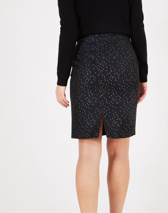 Folie navy blue straight-cut skirt with constellations (3) - 1-2-3