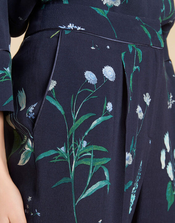 Pantalon fluide marine fleuri douglas