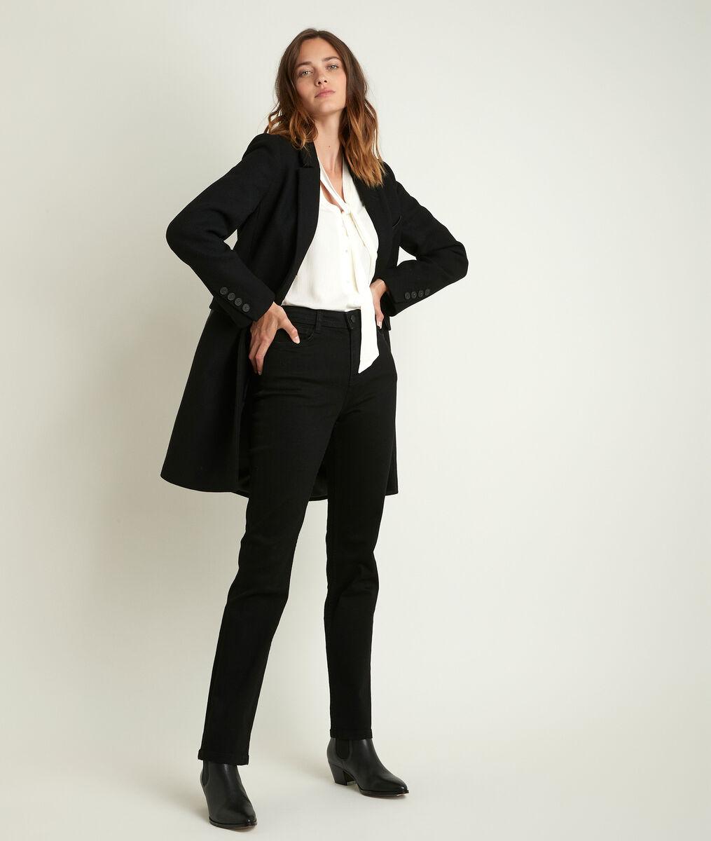 Manteau en laine recyclée noir Plume bis PhotoZ | 1-2-3