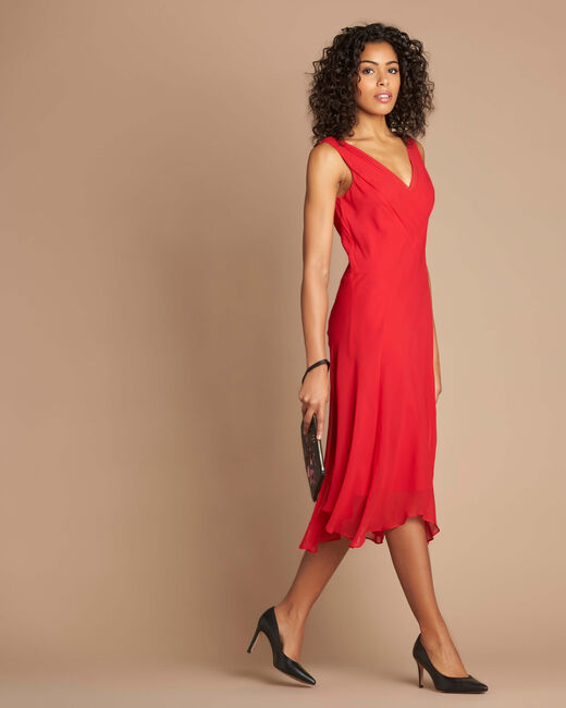 Foret red silk swirly midi dress (2) - 1-2-3
