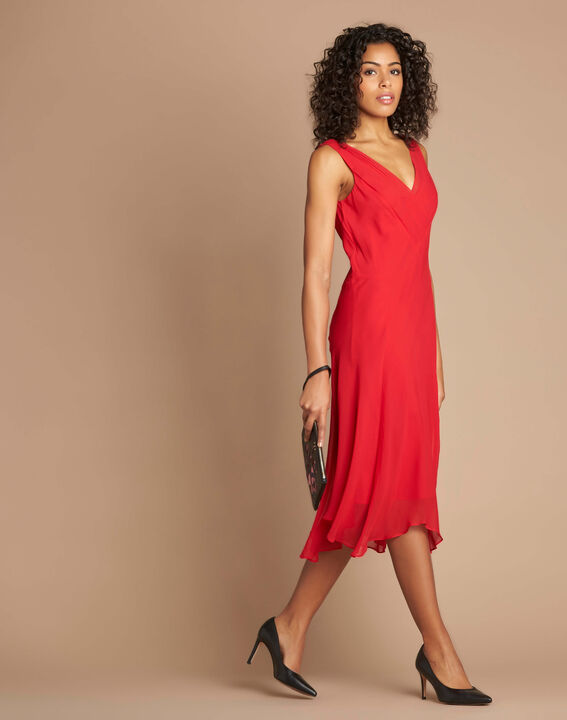 Robe rouge mi-longue dansante en soie Foret (3) - 37653