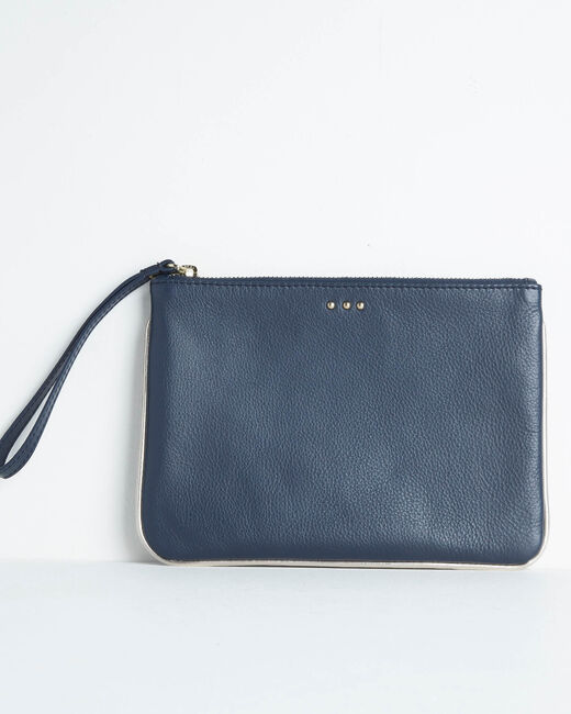 Droopy navy clutch with leather straps (1) - 1-2-3