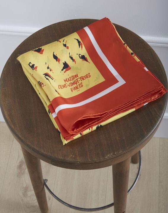 Carré de soie jaune imprimé animal Ohara (1) - Maison 123