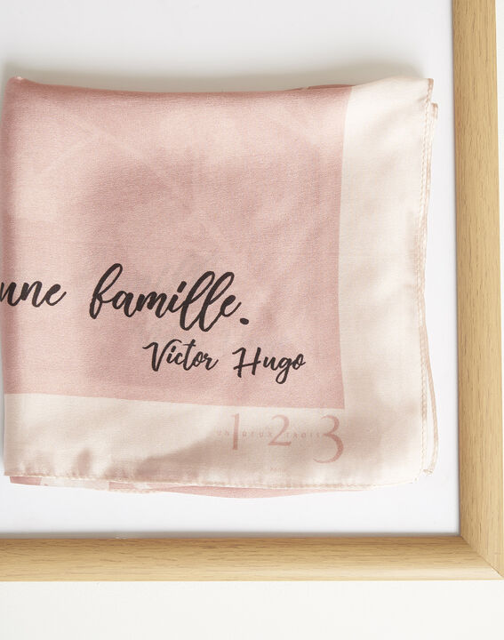Amberita pale pink square silk scarf with floral quotation design (1) - 1-2-3