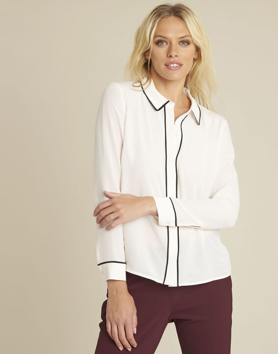 Celine nude silk blouse with contrasting bias (1) - Maison 123