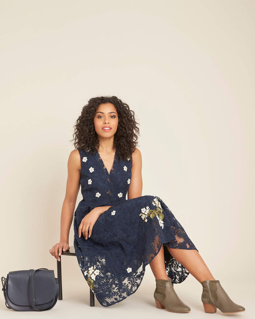 Iris tulle embroidered dress in navy (1) - 1-2-3