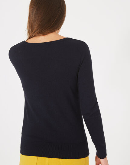 Planète navy sweater with V-neck and diamante (4) - 1-2-3