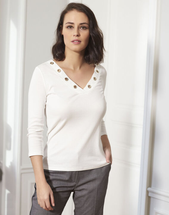 Ecru shirt met V-hals en gaatjes Basic (1) - 37653
