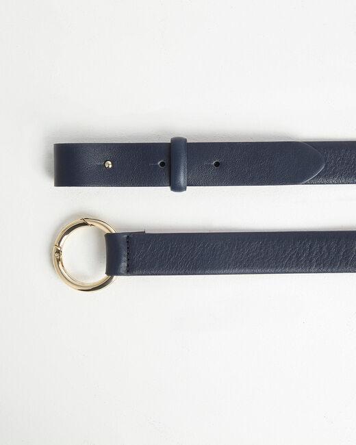 Mittelbreiter marineblauer Ledergürtel mit Ring Romie (2) - 1-2-3