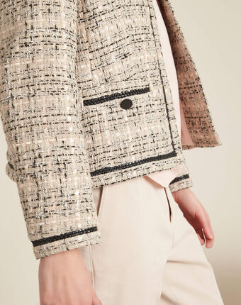 Cesar collarless beige tweed jacket beige.