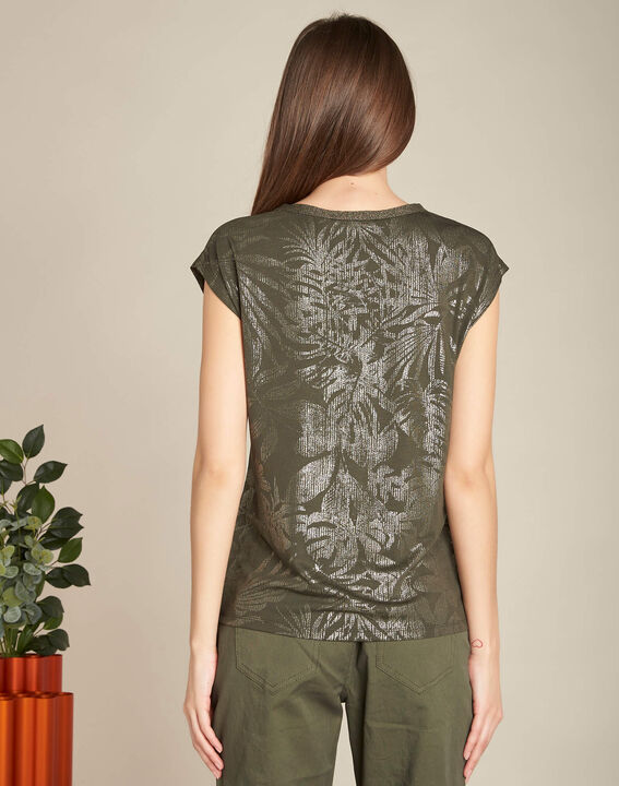 Enight khaki T-shirt with shiny V-neckline (4) - 1-2-3