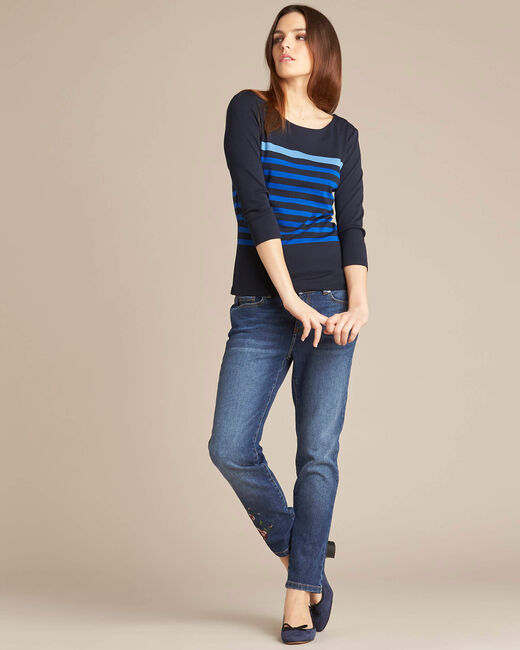 Emarine navy blue striped T-shirt with 3/4 sleeves (1) - 1-2-3
