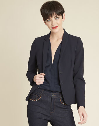 Eve navy blue short tailored jacket navy.