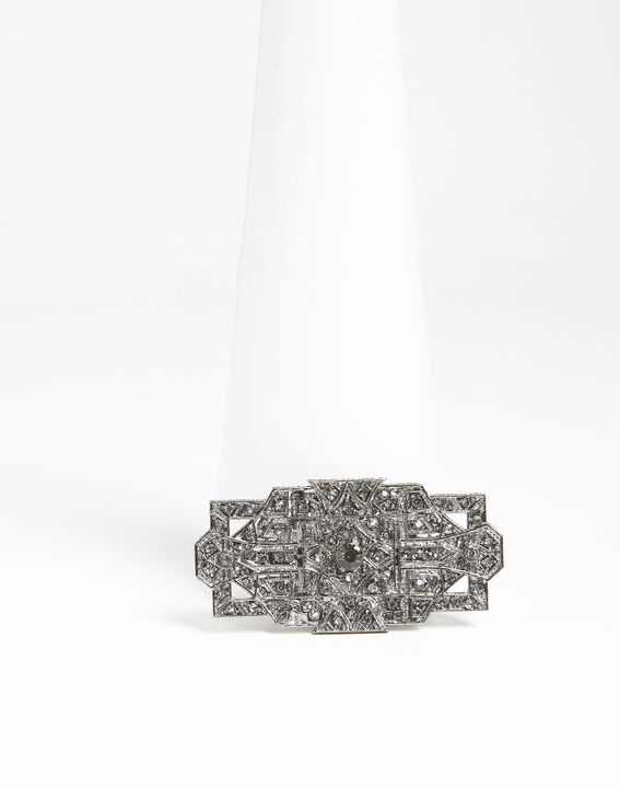 Silberfarbene Blattbrosche und schwarze Steine Xian PhotoZ | 1-2-3