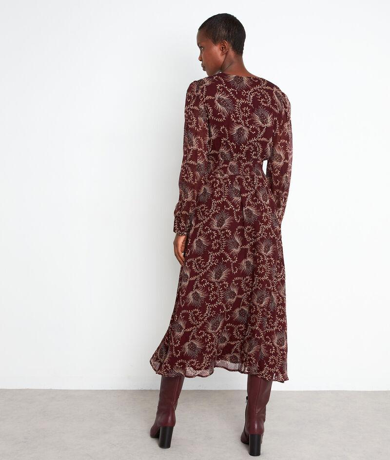 Robe mi-longue imprimée bordeaux Stecy PhotoZ | 1-2-3