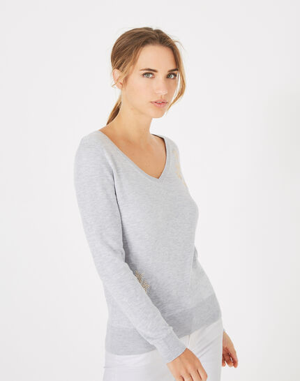 Planète marl, light grey sweater with V-neck and diamante (3) - 1-2-3