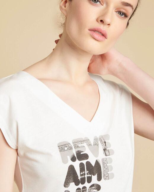 Ecru T-shirt met zeefdruk Elist (2) - 37653