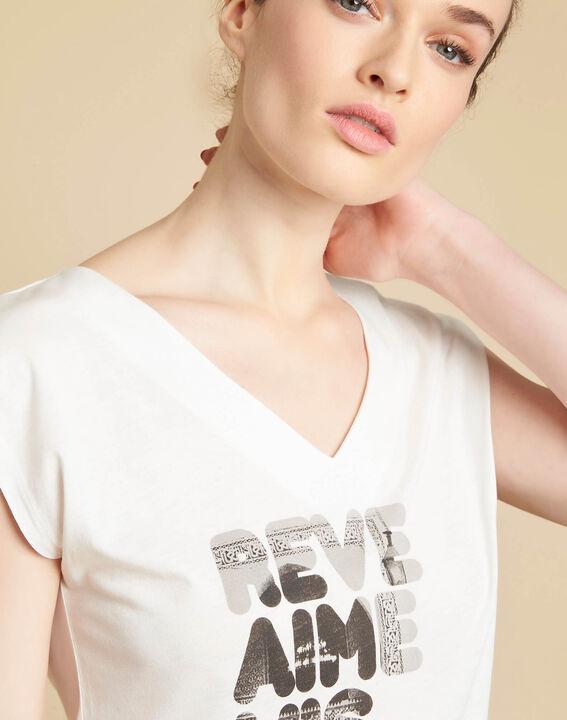 Ecru T-shirt met zeefdruk Elist PhotoZ | 1-2-3