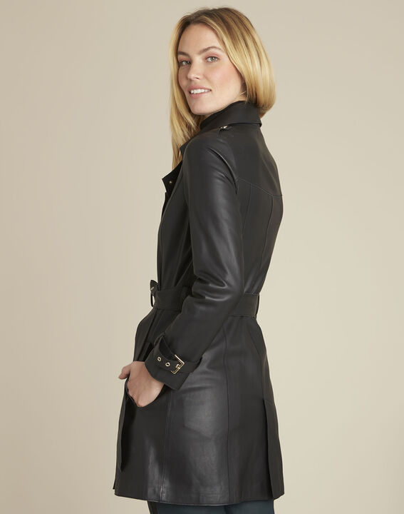 Buttoned black leather trench coat (4) - 1-2-3