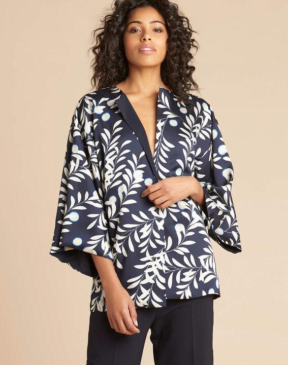 Blaue Kimono-Jacke mit Blumenprint Ugo (3) - 1-2-3