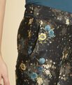 Harmonie navy blue straight-cut trousers with floral print PhotoZ | 1-2-3