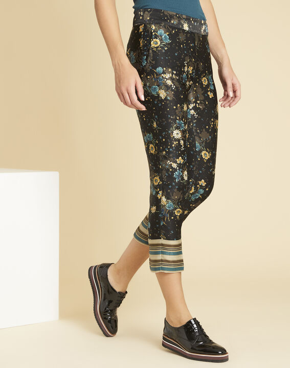 Harmonie navy blue straight-cut trousers with floral print (1) - Maison 123