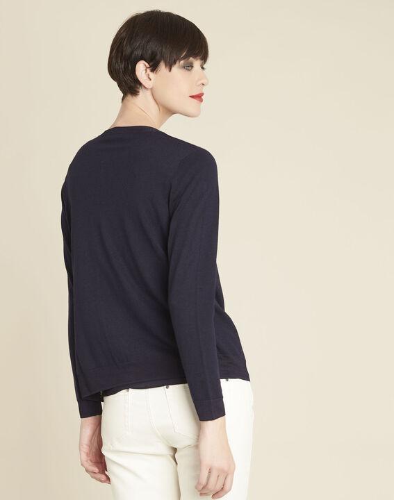 Bambou fine-knit navy cardigan (4) - 1-2-3