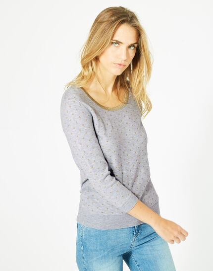 Prisme marl grey sweater with polka dot detailing and a rounded neckline (3) - 1-2-3
