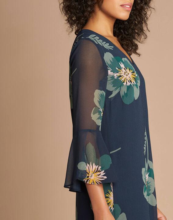 Waldgrünes Kleid mit Blumen-Print Astrid (4) - 1-2-3