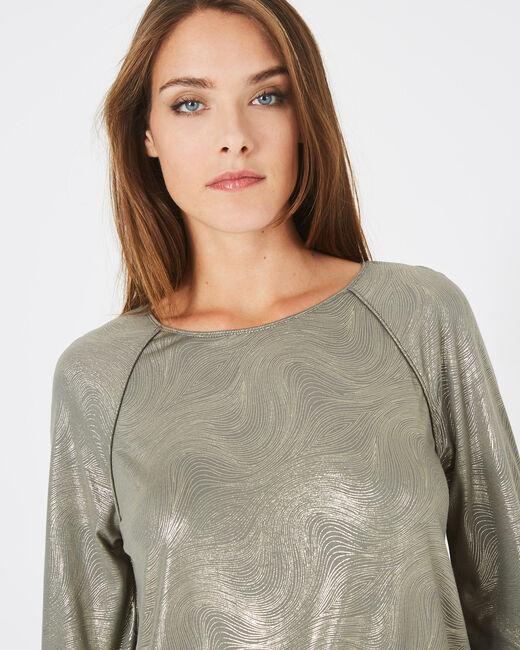 Tee-shirt kaki imprimé brillant Brindille (2) - 1-2-3