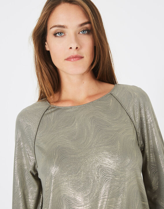 Sweat-shirt kaki imprimé brillant Brindille (2) - 1-2-3