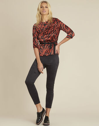 Camomille red zebra print blouse coral.
