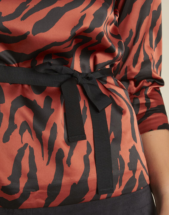 Blouse rouge imprimé zèbre Camomille (3) - 37653