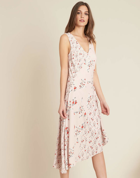 Nudefarbenes schwungvolles mittellanges Kleid mit Blumenprint Impatiens PhotoZ | 1-2-3