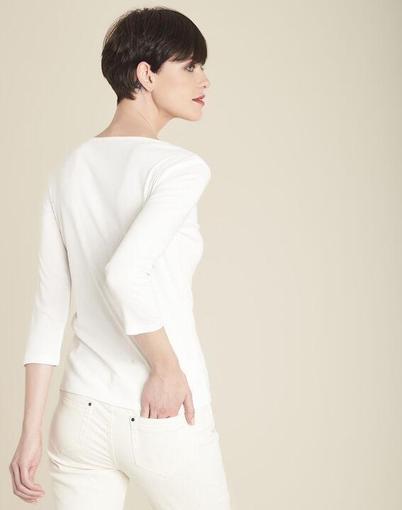 Tee-shirt écru col V plastron Glaive (4) - 1-2-3