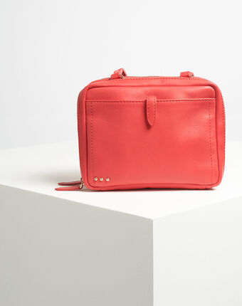 Dolly red shoulder bag with golden zip red.
