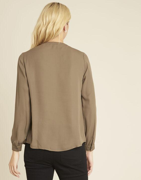 Khakifarbene Bluse mit V-Ausschnitt Christine (4) - 1-2-3