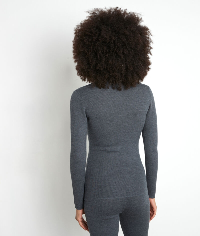 Tee-shirt manches longues anthracite en laine recyclée Tayron PhotoZ | 1-2-3