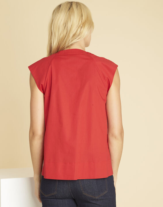 Chantal red V-neck top in poplin (4) - 1-2-3