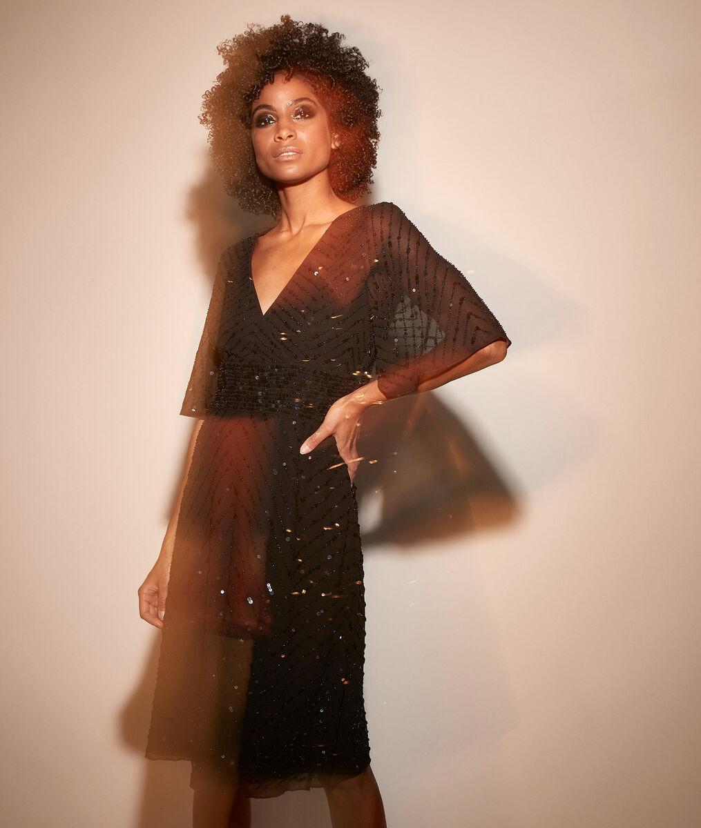 Tailliertes Kleid mit Pailletten Céleste PhotoZ | 1-2-3