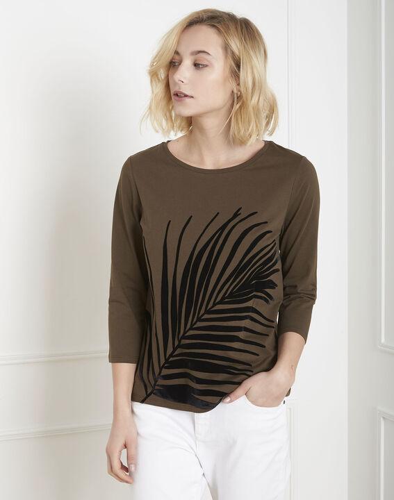 Kakifarbenes T-Shirt mit Palmen-Print Perrine  PhotoZ | 1-2-3